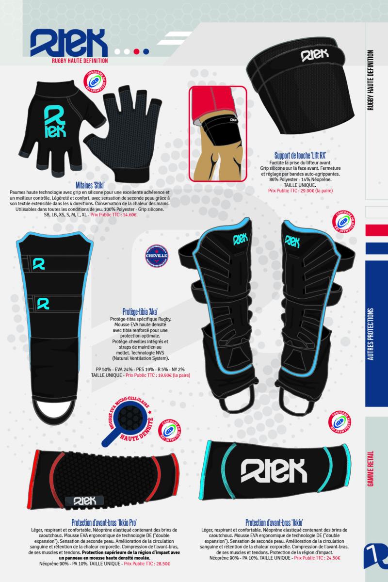 Rtek, équipements rugby: mitaines, support de saut en touche, manchon de protection d'avant bras et protège-tibia.